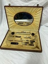 Vintage Art Deco Brown Manicure Set in Box with Mirror