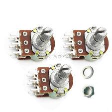 New 10 pcs B20K 20K Ohm Dual Linear Rotary Potentiometer Pot 20mm Shaft 6 Pins