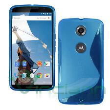 Pellicola+Custodia cover Wave BLU per Motorola Google Nexus 6 case TPU gel nuova