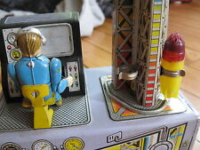 Antique Tin space toy rocket launch console vintage japan  rocket and robot man