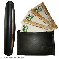 Leder Geldbörse TACKEN Schwarz RFID Business Münzbox Geldbeutel Münzbörse Fuffi