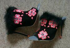 £510 rare Sophia Webster floral pink embroidered furry mules 38.5 UK 5.5 new