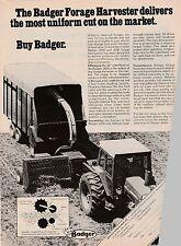 Original 1977 Badger Forage Harvester Magazine Ad