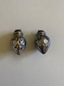 "Set of 2 RESTORATION HARDWARE Christmas Ornaments Glass 2.75"" Grey/Silver"