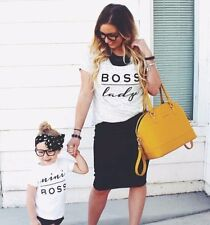 BOSS LADY & MINI BOSS Matching Tshirts Mother Daughter Son Parent Child Gift