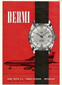 vintage 1975 color print ad BERMI Swiss watch watchmaking MID CENTURY ART
