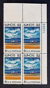 US Stamps, Scott #1339 Illinois Statehood 1968 5c Plate Block VF/XF M/NH