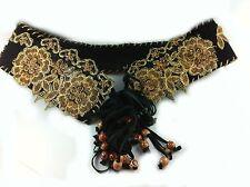 Belt Black Rockabilly Stage Gold Braid Cowrie Wood Beads 82cm Festival Gypsy
