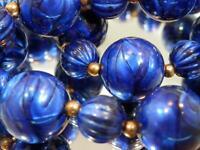 Wonderful Glowy Cobalt Blue Lucite Swirl  Necklace Vintage 70's 125M0