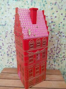 M&S RED SHORTBREAD MUSICAL TOWN HOUSE BISCUIT TIN - COLLECTORS ITEM - EMPTY