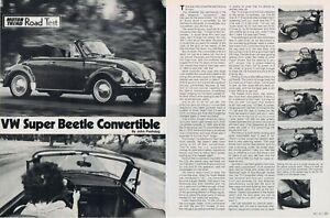 1973 Article - VOLKSWAGEN SUPER BEETLE CONVERTIBLE ROAD TEST