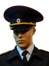 Original MANY SIZES Russian Police Officer Visor Cap Hat Uniform Black Genuine