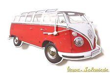 """Original VOLKSWAGEN Wanduhr """"Bulli"""" - Rot - VW Transporter T1 Camper Uhr"""