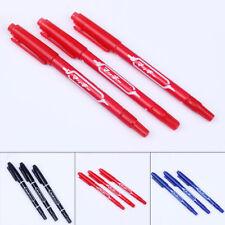 Marker Pen School Black Red 3pcs CD DVD Double Tip Waterproof Permanent Oily