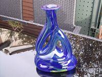 Mtarfa Maltese Blue and Yellow Organic Art Glass Vase signed.
