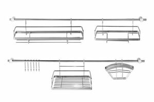 16 Teile stahl Küchenreling Relingsystem Küchenleiste Tuchhalter Haken