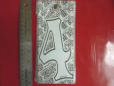 VINTAGE BIKE BICYCLE BMX MX NUMBER STICKER # 4 WHITE AND BLACK NUMBER PLATE