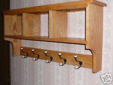 Solid Oak 48in 6 Hook Coat Rack Shelf