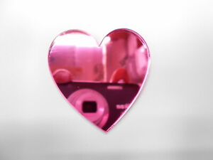 Heart Shaped Acrylic Pink Mirrors, 3mm thick,10cm x 5, no hole.