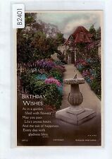 B2401cgt Greetings Birthday Tinted Thatched Cottage Garden Beagles vintapostcard