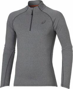 Asics Men's 1/2 Zip Top Sports Running Long Sleeve Jersey Top - Grey - New