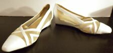 MAGDESIANS CALIFORNIA WHITE LEATHER & MESH LOW WEDGE HEEL SZ 7 WOMENS SHOES