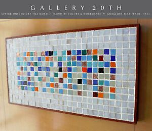 SUPERB! MID CENTURY MODERN ORIGINAL TILE MOSAIC WALL ART! VTG 50'S ATOMIC TABLE