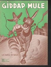 Giddap Mule (We've Got To Farm To Win This Fight) 1942 World War II Sheet Music