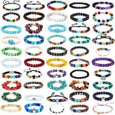 7 Chakra Healing Beaded Bracelets Natural Lava Stone Diffuser Bangle Womens Mens