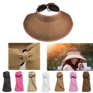 Womens Summer Beach Work Hat Sun Visor Fold able Roll Up Wide Brim Open Top Cap