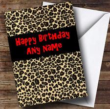 Leopard Print Animal Personalised Birthday Greetings Card