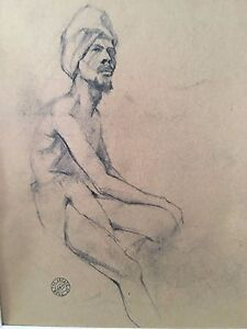 """drawing original charcoal """"street in barano"""" signed by stuart kaufman 1926-2008"""