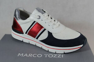 Marco Tozzi Sneakers Low Shoes Lace Up Slippers White/Blue New