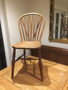 Antique Curved & Stick Back Wooden Chair Windsor Wheel