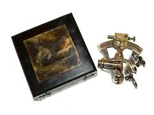 Vintage Antique Brass Ventnra Germany Nautical Sextant With Wooden Box Gift Item