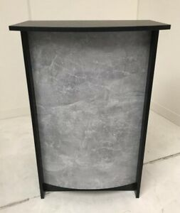 Small Reception Desk - Black, Concrete Effect Front