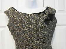 VTG 1950s Fashion Preferred Jack Liebman Gold Black Sexy Fitted Cocktail Dress