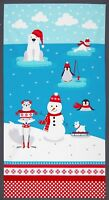 "Fabric Baby Polar Pals Polar Bears Penguin Fox Panel Cotton 23""x42"""