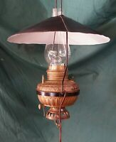 Vintage Brass Hanging Oil Lamp w/Galvanized Shade - Electrified - Country Store