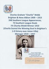 Charlie webb brighton 1909-15 charity shield gagnant 1910 original signé coupe