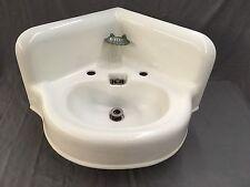Large Antique Cast Iron White Porcelain Corner Sink Vtg Bath Plumbing 519-17E