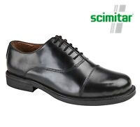 BOYS Black Leather Cushioned Capped Oxford Cadet School Shoes Size 3 4 5 6 7 8 9