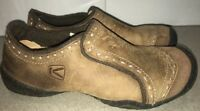 Keen Comfort Slip On Shoes Brown Leather Flat Womens Size 6.5