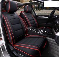 Pour Nissan Renault Citroen Housses Sièges Avant Grand Confort Cuir Noir Rouge