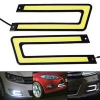 2X U Shape White COB 6000K Led Daytime Running Light DRL Headlight Fog Lamp New