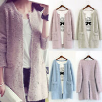 Women Long Sleeve Knitted Cardigan Coat Casual Jacket Sweater Knitwear Outwear