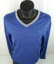 Cobra Puma Mens Golf Sweater Large Long Sleeve V-Neck Cotton/Wool Blue & Gray