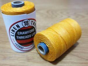 Waxed Linen thread  18 / 4 .      100 metre spool yellow