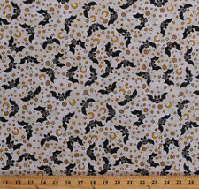 Cotton Bats Stars Moon Animals Creepy Hollow Cotton Fabric Print BTY D369.12