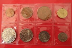 Set of 8 pre decimal coins from Farthing to Half-crown